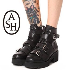 Ash -Razor Leather Buckled Platform Combat Boots